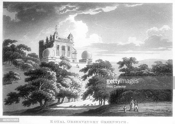 The Royal Greenwich Observatory Flamsteed House Greenwich Park London c1820 The observatory was built by Christopher Wren on the orders of Charles II...