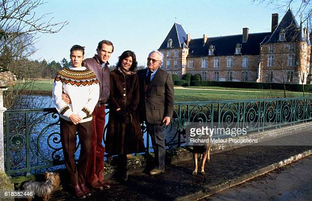 The royal Grimaldi family of Monaco Princess Stephanie Prince Albert Princess Caroline and Prince Rainier III near a pond at their French villa Two...