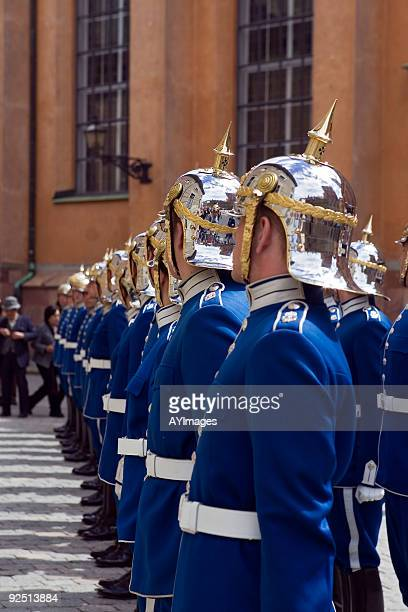 the royal guard at stockholm, sweden - honor guard stock pictures, royalty-free photos & images