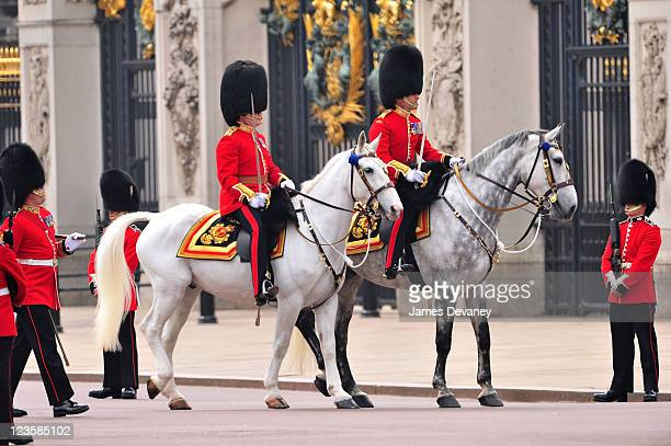 The Royal Guard await arrival of Prince William Duke of Cambridge and Catherine Duchess of Cambridge outside Buckingham Palace on April 29 2011 in...