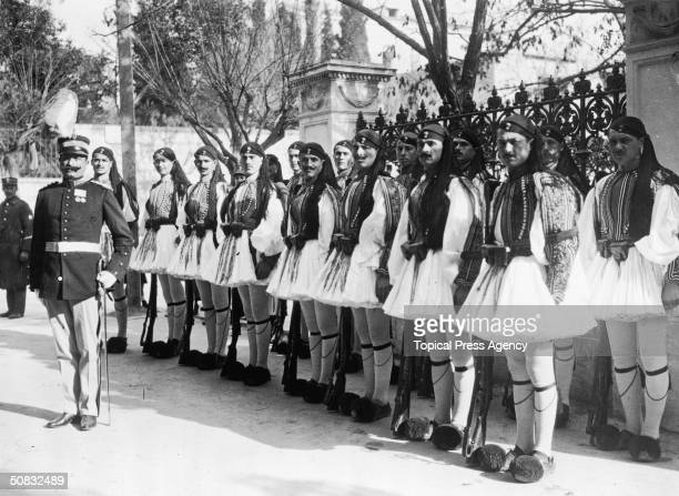 The Royal Guard or Evzones at the palace in Athens after the return of King Constantine I from exile, 25th January 1921.