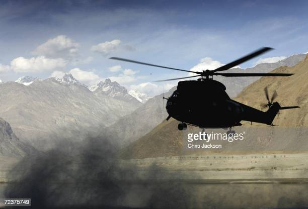The Royal helicopter arrives at Nansoq Organic village on November 03, 2006 in Skardu, Pakistan. This is the sixth and last day of the Royal Tour of...