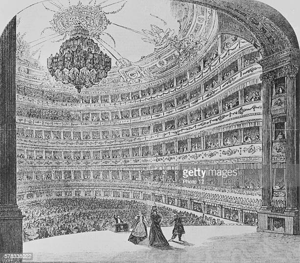 The Royal Italian Opera House in London also known as the Covent Garden Theatre named after the district where it is located Engraving realized after...