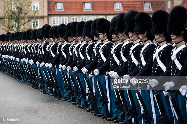 The Royal Life Guard is lined up to receive Queen Margrethe at the regiments barracks in Copenhagen Denmark on November 16 2016 The occasion for the...