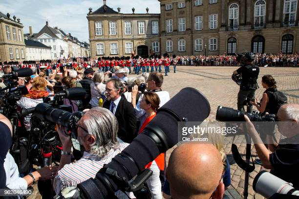 The Royal Life Guard is marching on the Amalienborg Palace Square prior to Crown prince Frederik and family appear on the balcony of the residence at...