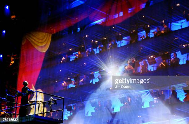 The Royal Liverpool Philharmonic Orchestra, conducted by Vasily Petrenko, performs during the production of 'Liverpool - The Musical' at the Echo...