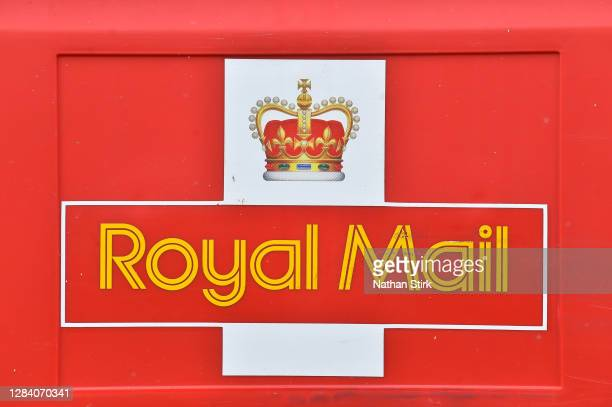 The Royal Mail logo is seen on November 05, 2020 in Stoke-on-Trent, Staffordshire, England.