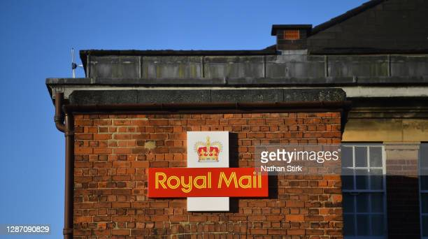 The Royal Mail logo is seen outside a Delivery Office on November 22, 2020 in Stafford, England.