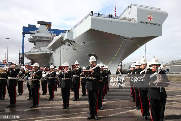 The Royal Marine band play ahead of the arrival of Prince Charles Duke of Rothesay and Camilla Duchess of Rothesaysay while in Scotland for a naming...