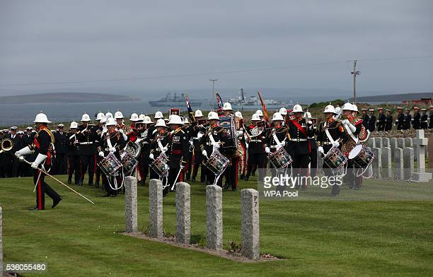 The Royal Marines Band Service take part in a service at Lyness Cemetery during the 100th anniversary commemorations for the Battle of Jutland on May...