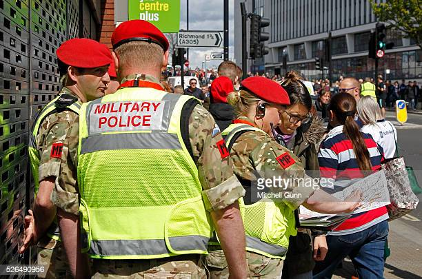 The Royal Military Police assist with policing during the Babcock Trophy rugby union match between The British Army and the Royal Navy played in...