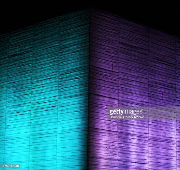 The Royal National Theatre at night. Designed by Sir Denys Lasdun and Peter Softley. Opened in 1976 AD. Known internationally as The National Theatre...