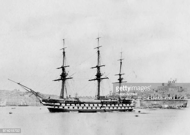The Royal Navy 91gun second rate ship of the line HMS Algiers at anchor in Valetta Harbour circa 1858 at Valetta Malta
