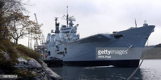 The Royal Navy aircraft carrier HMS Ark Royal docks at Glen Mallan Jetty on Loch Long to unload ammunition during its decommissioning on November 12...