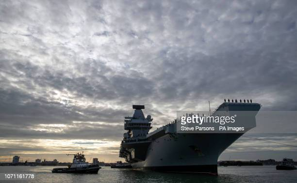 The Royal Navy aircraft carrier HMS Queen Elizabeth arrives in Portsmouth returning home from her fourmonth Westlant deployment after successfully...