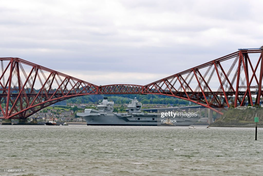 GBR: HMS Queen Elizabeth Sails From The Forth