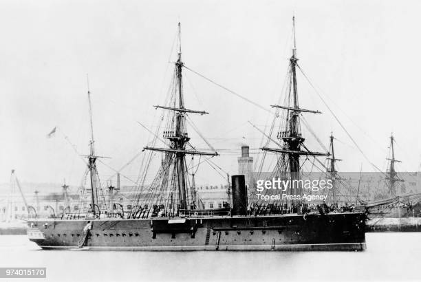 The Royal Navy Audaciousclass central battery 10gun twinscrew ironclad HMS Iron Duke in the English Channel circa 1885 off Devonport Plymouth United...