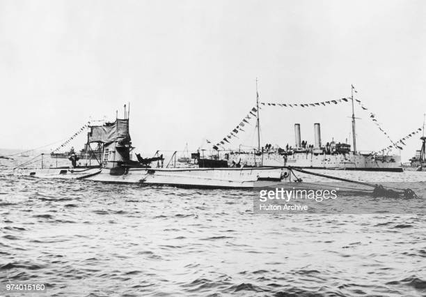 The Royal Navy Bclass submarine HMS B11 under the command of Lieutenant Norman Douglas Holbrook on its return to Malta after torpedoing and sinking...