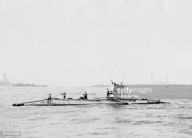 The Royal Navy Bclass submarine HMS B9 on maneuvers in the English Channel prior to their transfer to the Mediterranean and Malta in June 1912 off...