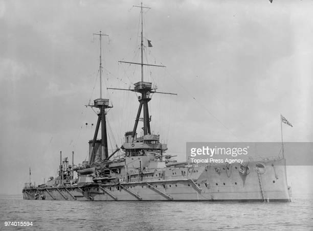 The Royal Navy Bellerophonclass dreadnought battleship HMS Bellerophon cruising the English Channel circa 1913 off Devonport Plymouth United Kingdom...