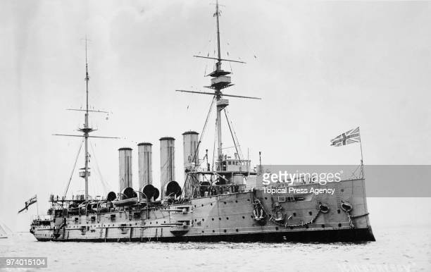 The Royal Navy Cressyclass armoured cruiser HMS Cressy of the Seventh Cruiser Squadron in the English Channel circa 1914 off Portsmouth United...