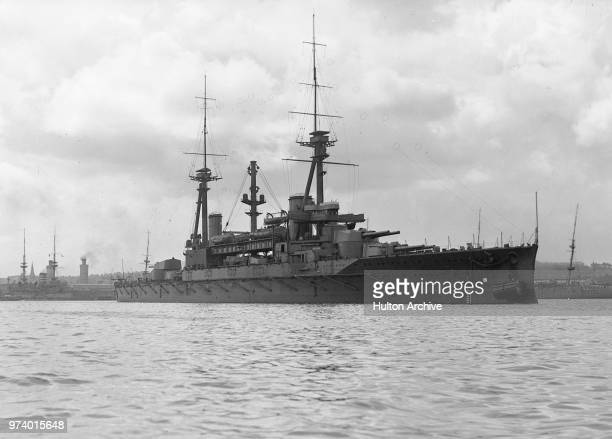 The Royal Navy Dreadnought battleship HMS Agincourt with her 7 × twin BL 12-inch Mk XIII guns at anchor in Portsmouth Harbour circa 1914. Was...