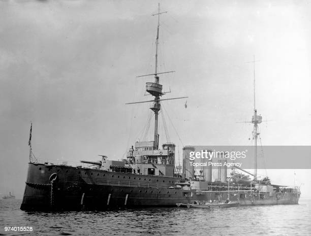 The Royal Navy Duke of Edinburghclass armoured cruiser HMS Black Prince of the Fifth Cruiser Squadron in the English Channel circa 1913 off...