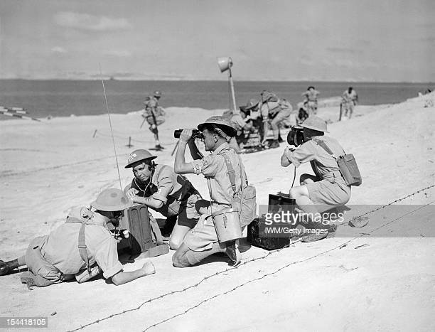 The Royal Navy During The Second World War Beach party communications at work with a radio being used as naval beach parties and commandos train at...