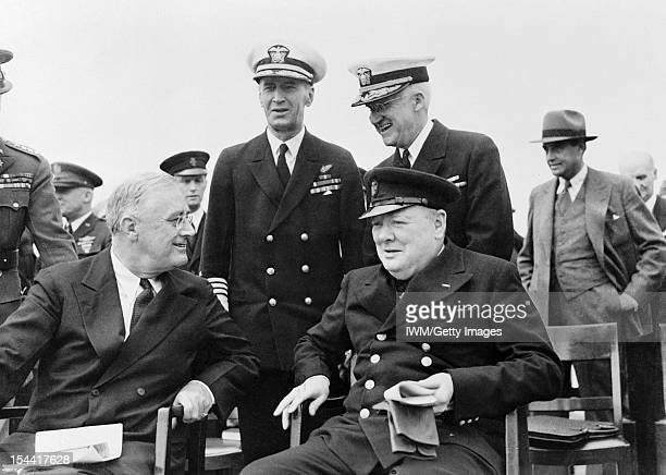 The Royal Navy During The Second World War President Franklin D Roosevelt and Prime Minister Winston Churchill after Divine Service on board HMS...
