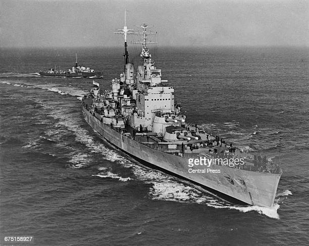 The Royal Navy fast battleship HMS Vanguard undergoes her shakedown sea trials in the Central Atlantic Ocean on 4 December 1946 whilst preparing to...
