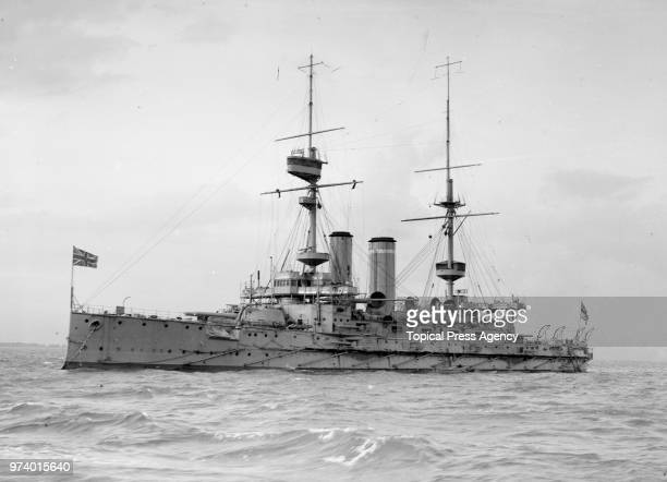 The Royal Navy Formidableclass predreadnought battleship HMS Formidable during maneuvers in the English Channel with the 5th Battle Squadron of the...