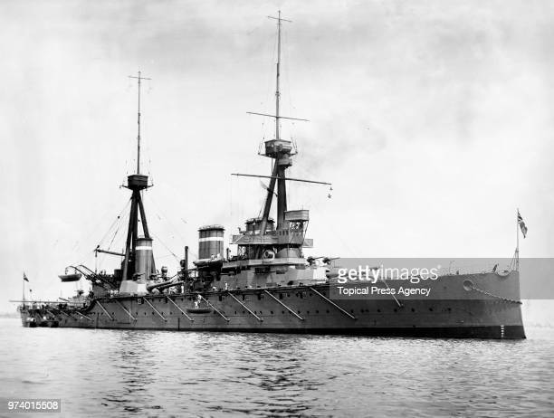 The Royal Navy Invincibleclass battlecruiser HMS Invincible of the 2nd Battlecruiser Squadron in the English Channel circa 1914 off Portsmouth United...