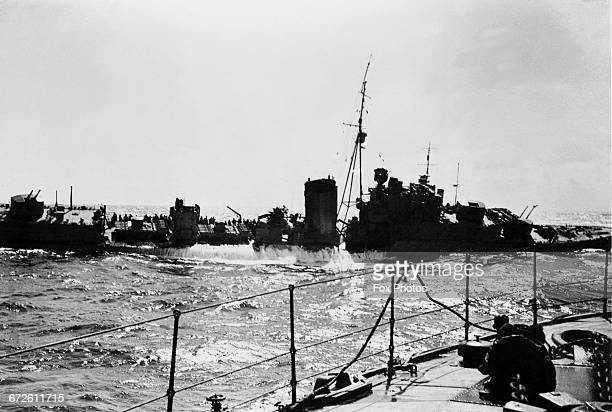 The Royal Navy Kclass destroyer HMS Kelly commanded by Lord Louis Mountbatten begins to sink after being hit by German Luftwaffe JG52 Stuka aircraft...