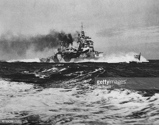 The Royal Navy King George Vclass battleship HMS Anson of the Home Fleet Fleet undergoing sea trials in the North Sea on 22 June 1942 off Scapa Flow...