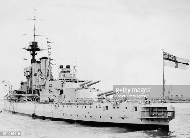 The Royal Navy King George Vclass dreadnought battleship HMS Centurion flagship of the Reserve Fleet Portsmouth at anchor off Spithead awaiting the...