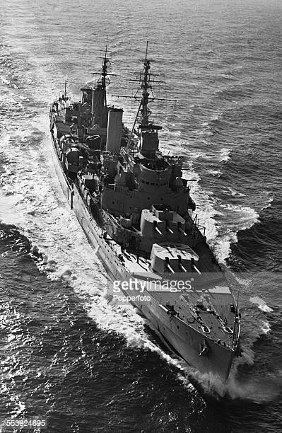 The Royal Navy light cruiser HMS Belfast at sea off Dungeness Kent 5th October 1950 The ship under Captain Aubrey St ClairFord is returning to...