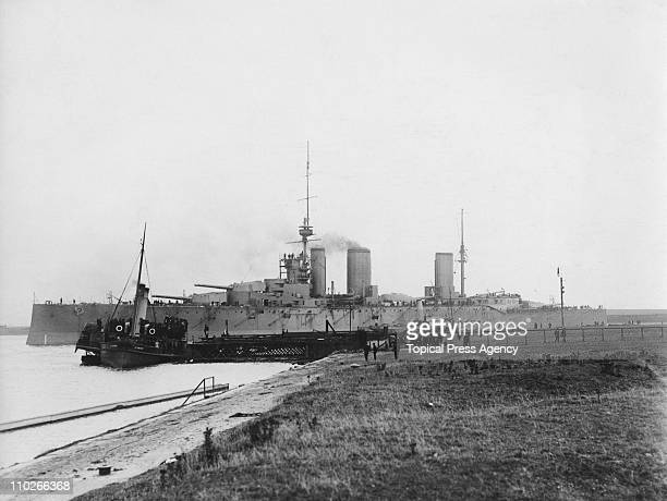 The Royal Navy Lionclass battlecruiser 'HMS Princess Royal' leaves BarrowinFurness for her speed trials August 1912