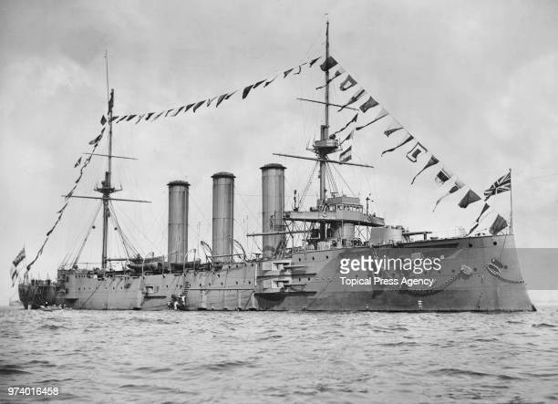 The Royal Navy MonmouthClass Armoured Cruiser HMS Monmouth cruising the English Channel circa 1913 off Devonport Plymouth United Kingdom HMS Monmouth...