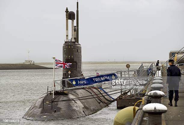 The Royal Navy nuclear attack submarine HMS Triumph is moored in Den Helder on October 26 2010 The nuclearpowered Royal Navy submarine HMS Triumph...