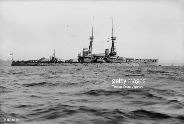 The Royal Navy St Vincentclass dreadnought battleship HMS Collingwood in the English Channel circa 1913 off Portsmouth United Kingdom Prince Albert...