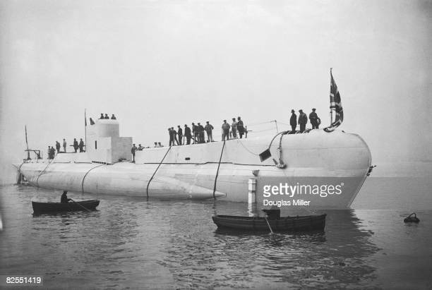 The Royal Navy submarine 'HMS Sturgeon' is launched from Chatham Dockyard in Kent 8th January 1932