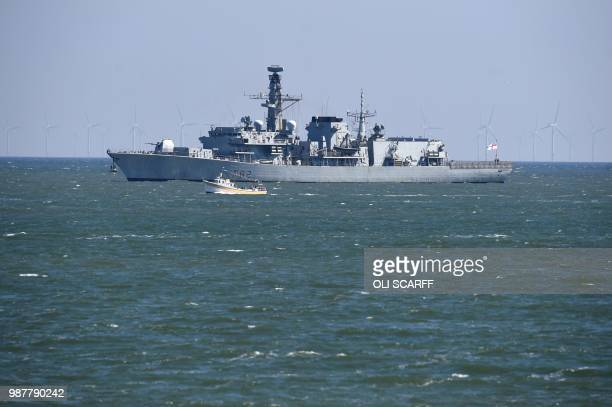 The Royal Navy Type 23 frigate HMS Somerset is moored in the harbour during the national Armed Forces Day celebrations at Llandudno north Wales on...