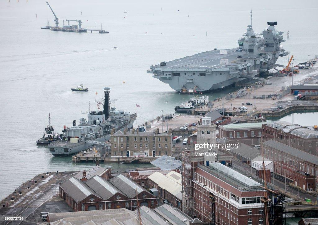 Royal Navy Ships Docked At Portsmouth Dockyard : News Photo