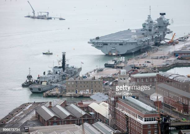 The Royal Navy's latest aircraft carrier is pictured docked in Her Majesty's Naval Base Portsmouth on December 21 2017 in Portsmouth England Earlier...