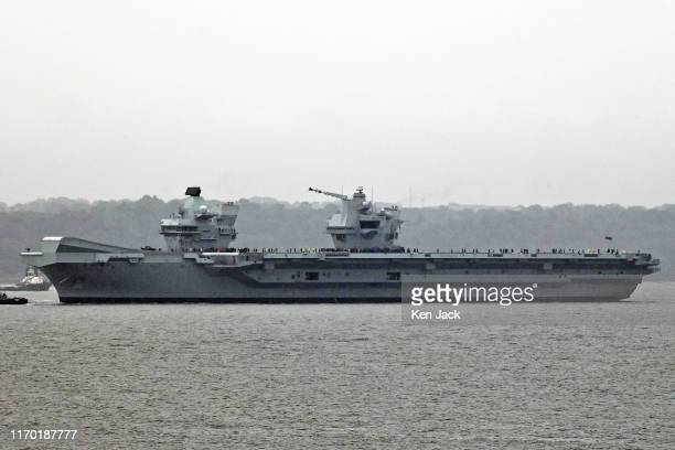 The Royal Navy's newest aircraft carrier HMS Prince of Wales sails from the Forth Estuary to begin sea trials before joining the fleet on September...