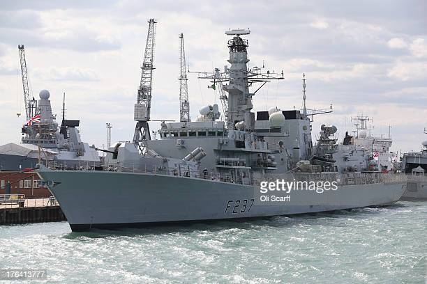 The Royal Navy's Type 23 frigate HMS Westminster moored in Portsmouth Naval Base is prepared for her deployment to the Mediterranean tomorrow on...