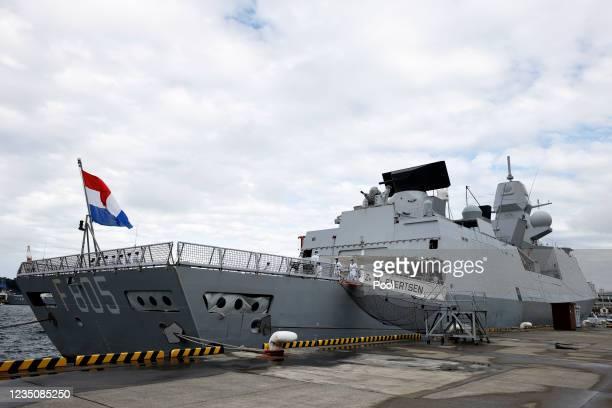 The Royal Netherlands Navy's HNLMS Evertsen frigate sits anchored at the Japan Maritime Self-Defense Force naval base in Yokosuka on September 6,...