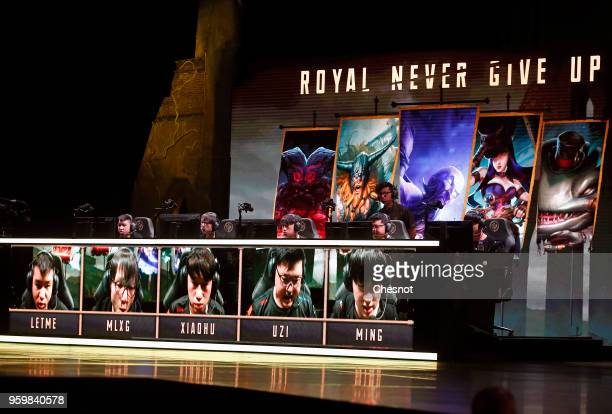 The Royal Never Give Up's team competes the video game 'League of Legends' during the Mid Season Invitational League of Legendsat the Zenith on May...