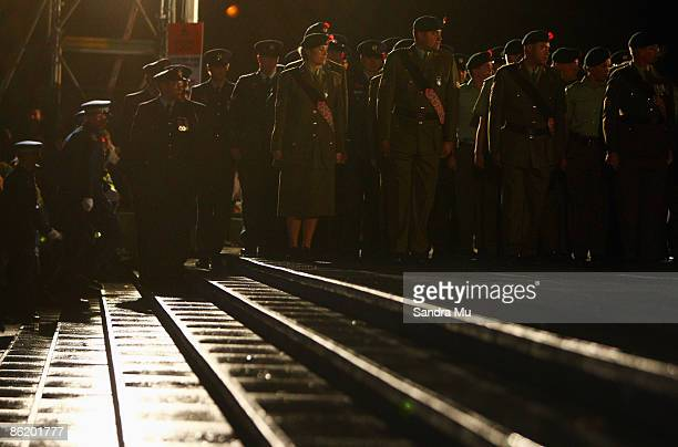 The Royal New Zealand Army stand guard in the Court of Honour during the Anzac day dawn service ceremony at the Auckland Museum on April 25 2009 in...