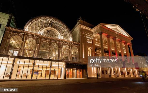 The Royal Opera House illuminated in Yellow on March 23, 2021 in London, England. Marie Curie Cancer Charity has organised a National Day of...